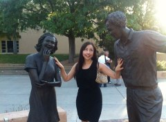 Clowning with the statues on the UNM campus.